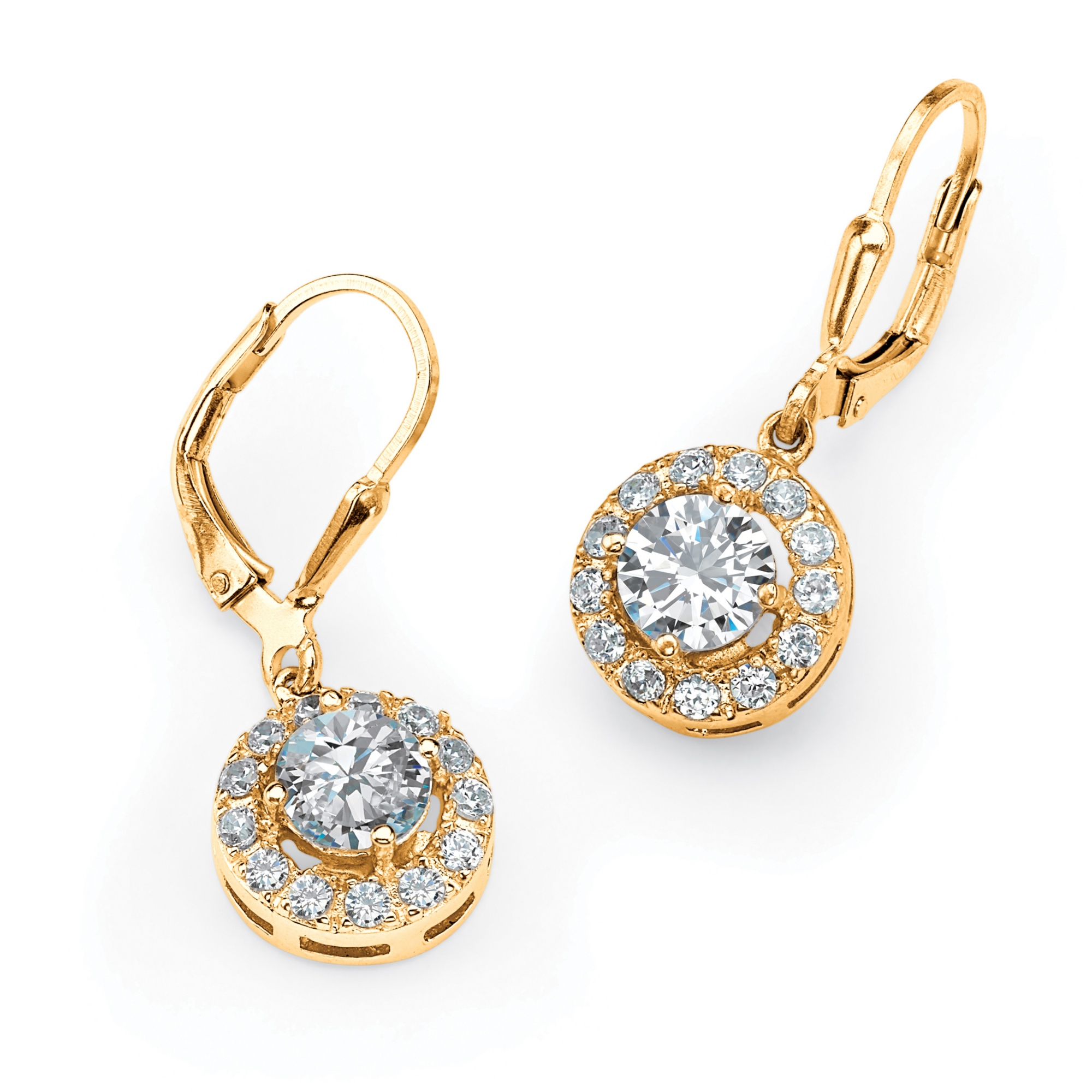 2.34 TCW Round Cubic Zirconia Halo Drop Earrings in 18k Gold over Sterling Silver