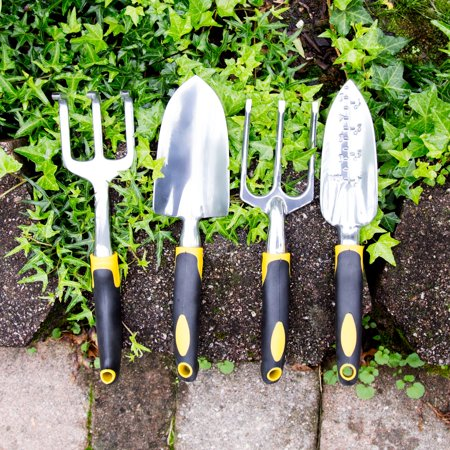 4 Piece Garden Tool Set with Comfort Grip Handles by Pure Garden ()