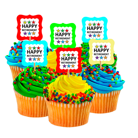 Happy Retirement Rainbow Back Cupcake Decoration Toppers - Halloween Cupcake Toppers Tesco