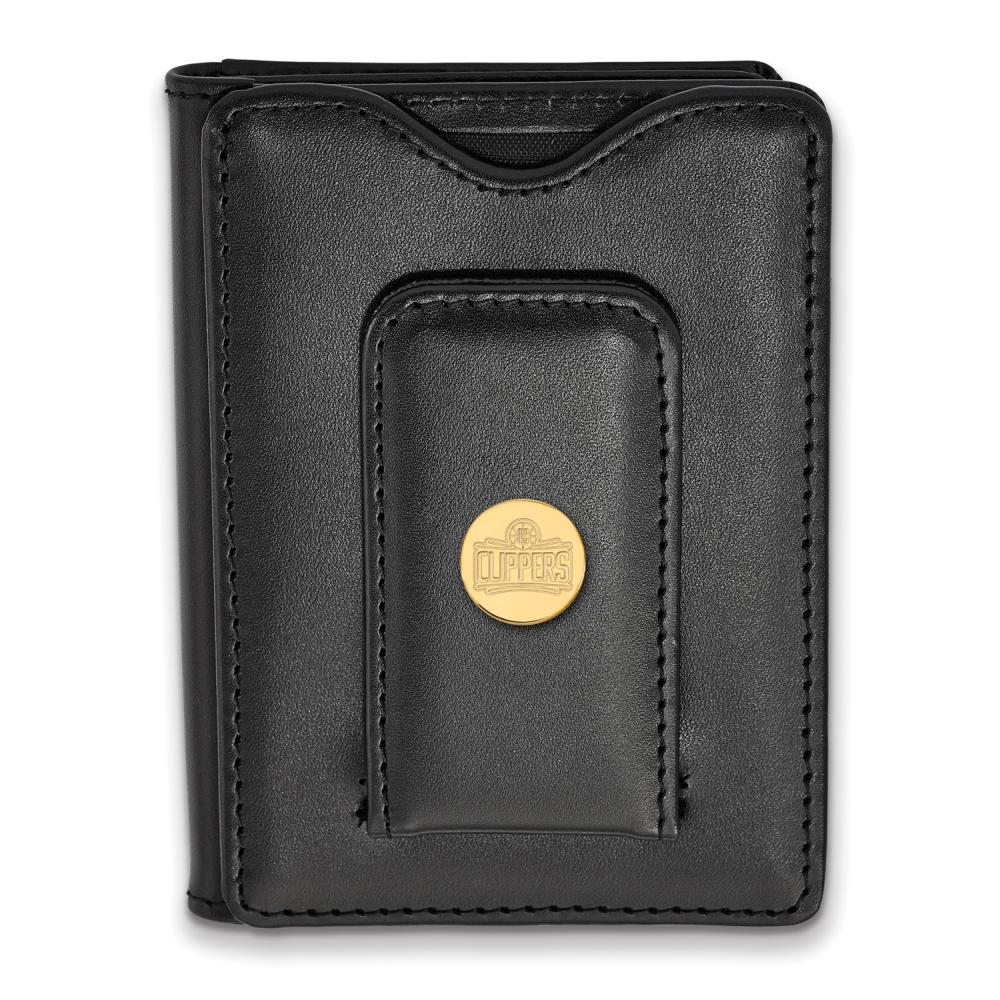 Los Angeles Clippers Black Leather Wallet (Gold Plated)