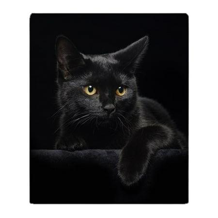 CafePress - Black Cat - Soft Fleece Throw Blanket, 50