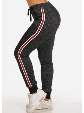 2620c0372119a Product Image Womens Juniors French Terry Casual Loungewear Activewear  Sport Gym Fitness Black Heather Drawstring Jogger Pants 10512W