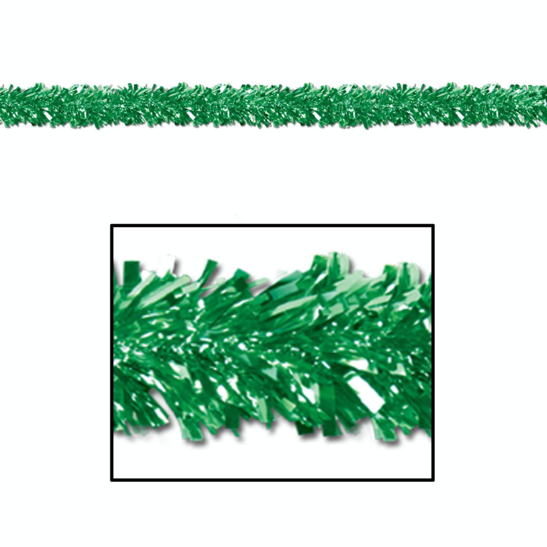 Club Pack of 12 Shiny Metallic Green Foil Tinsel 6-Ply Christmas Garlands 15' - Unlit