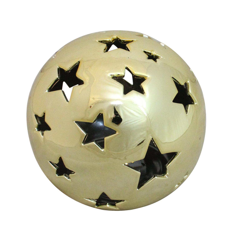 "5.75"" Battery Operated Starry Night Shiny Gold Ceramic Ball LED Light Decoration"