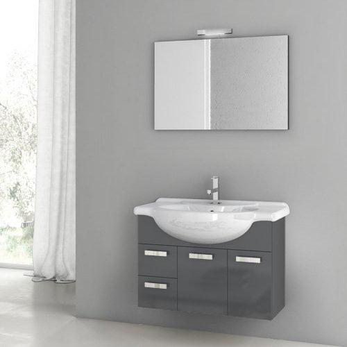 ACF by Nameeks ACF PH01-GA Phinex 32-in. Single Bathroom Vanity Set - Glossy Anthracite
