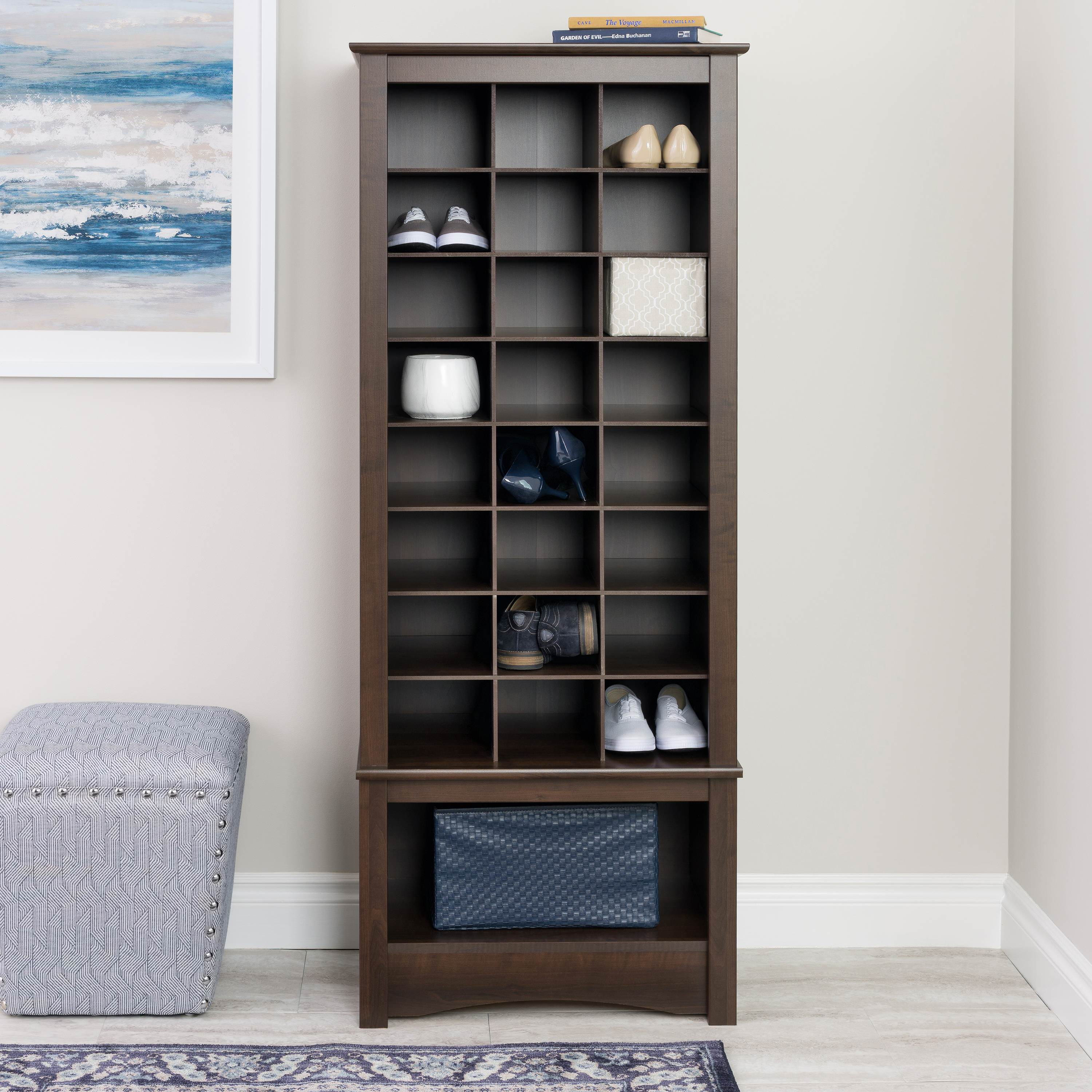 Prepac 24 pair Shoe Storage Rack with bottom shelf, Espresso
