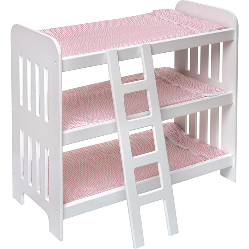 "Badger Basket Triple Doll Bunk Bed with Ladder and Pink Gingham Mats, Fits Most 18"" Dolls & My Life As"