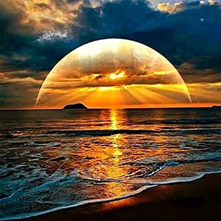 5D Sunset by the Sea Embroidery Paintings Rhinestone Pasted DIY Diamond Painting Cross Stitch