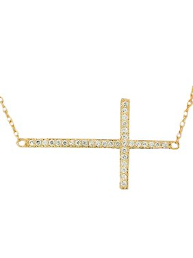 925 Sterling Silver Yellow Gold-Tone Sideways Cross CZ Pendant Necklace