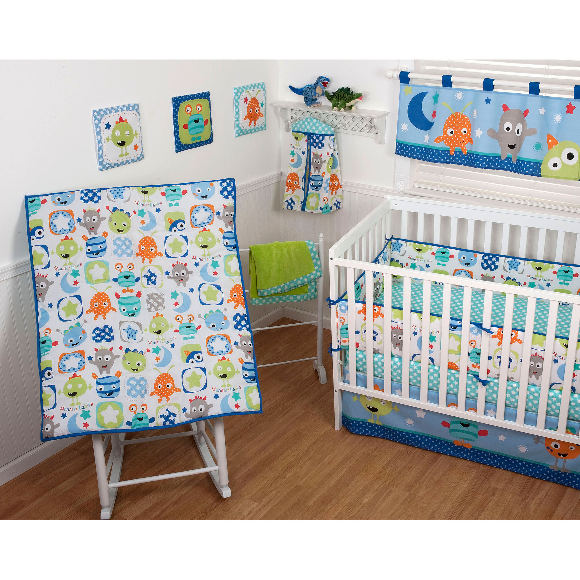 Sumersault Monster Babies 5-Piece Crib Bedding Set