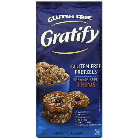 Sesame Pretzel Rings - Gratify Sesame Seed Thins Gluten Free Pretzels, 10.5 oz, (Pack of 6)