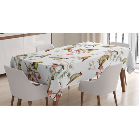Animal Tablecloth, Sparrows Chubby Birds Indian Leaves Branches Pine Trees Watercolor Image Artwork, Rectangular Table Cover for Dining Room Kitchen, 60 X 90 Inches, Multicolor, by Ambesonne