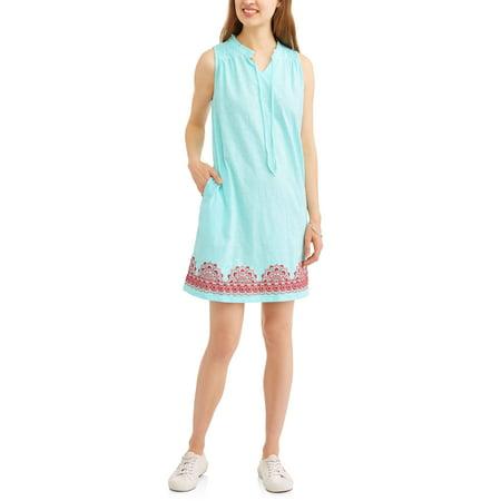 Chain Print Dress - Women's Printed Hem Knit Dress