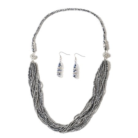 - Hypoallergenic Beads Silver Grey Color Glass Earrings Necklace Jewelry Gift Set for Women