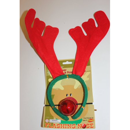 DDI 2319912 Reindeer Antlers with a Flashing Red Nose, Red & Green - Case of 72
