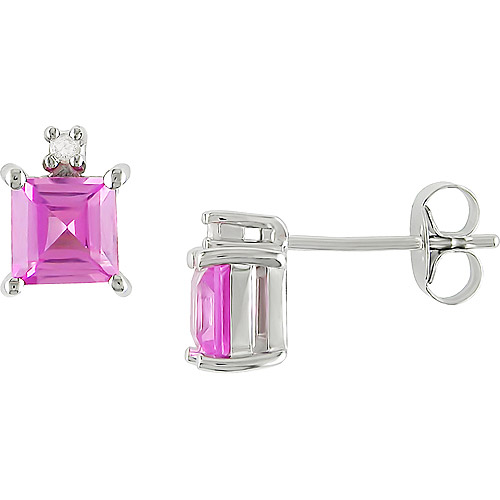 Created Pink Sapphire and Diamond Accent Sterling Silver Earrings