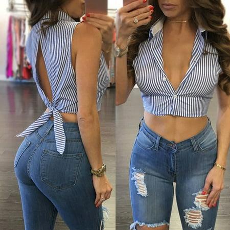 Apparel Novelty Striped Blouses Women Sexy Bowknot Backless Shirts Sleeveless V-Neck Blusas Women Bandage Tops Plus Size Female Blue S