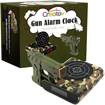 Target Alarm Clock With Gun, Infrared Target and Realistic Sound Effects  Infrared 0 8 mw -Camouflage- By Creatov