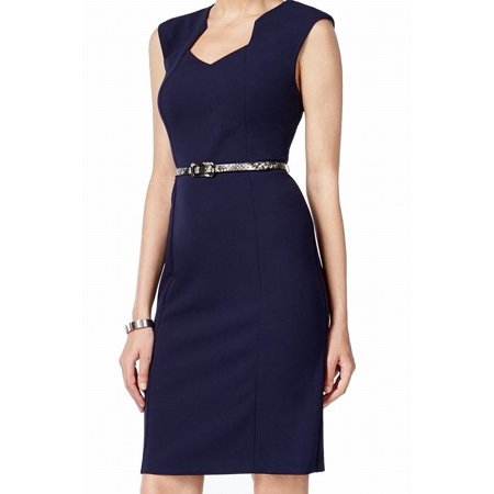Connected Apparel NEW Blue Womens Size 10P Petite Belted Sheath Dress