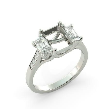 Emerald 3 Stone Semi Mount Round Diamond Engagement Ring Solid 18k Yellow Gold 3 Stone Semi Bezel