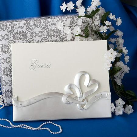Gold Hearts Wedding Guest Book - Interlocking Hearts Design Wedding Guest Book