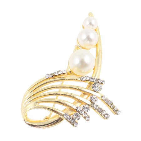 Unique Bargains Glittering Faux Pearl Embellished Dress  Pin Brooch for Women