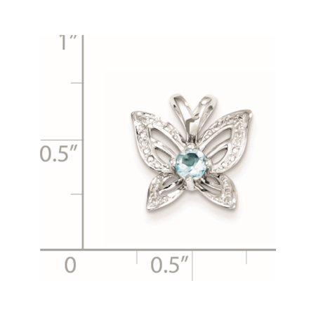 Argent 925 rhodi? Topaze bleu & Diamond (14x13mm) Pendentif / Breloque - image 1 de 2