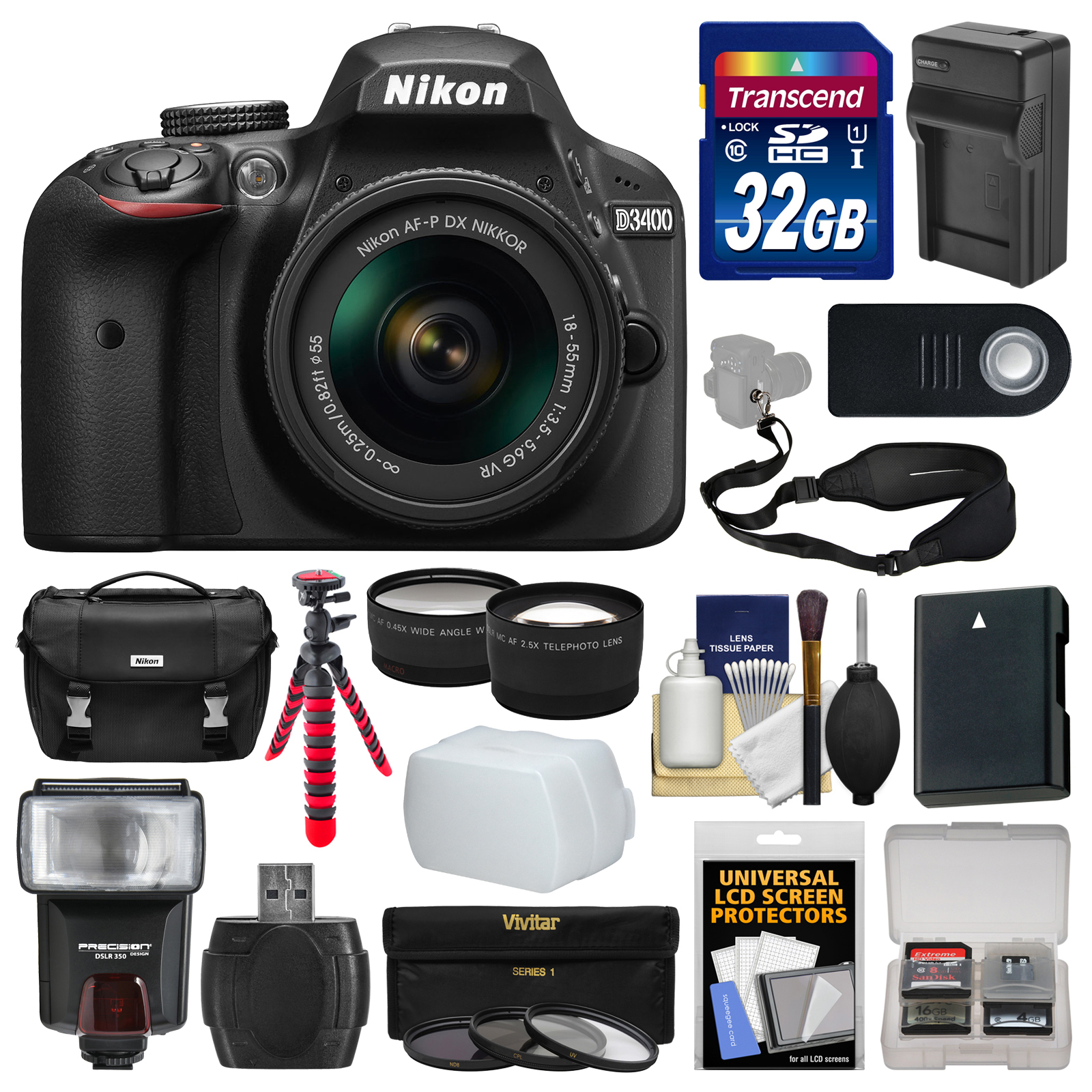Nikon D3400 Digital SLR Camera & 18-55mm VR DX AF-P Zoom ...