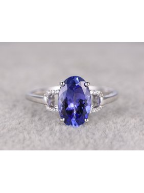 372facd3fcaafa Product Image 1.25 Carat Oval cut Real Tanzanite and Diamond Engagement Ring  in 18k Gold Over Silver