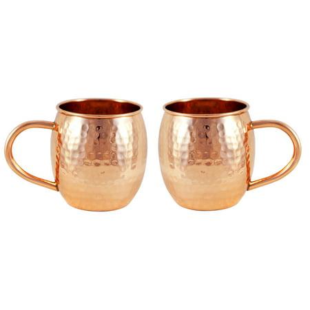 Alchemade Set of 2 Hammered Barrel Copper Mugs - 16 oz.