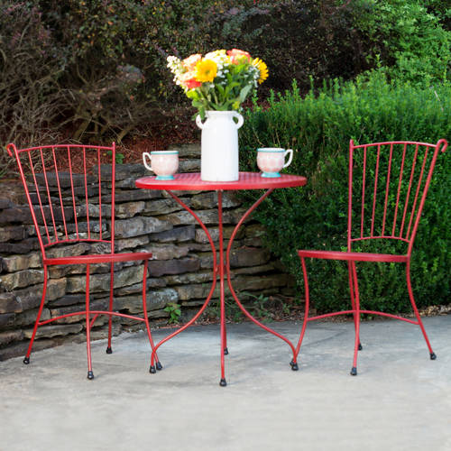Arlington House Wrought Iron Bistro Set Red Outdoor Furniture