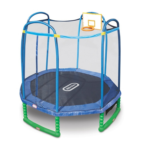 Little Tikes 10-Foot Sports Trampoline, with Safety Enclosure, Basketball Hoops, Ball, and Padded Frame, Blue/Green
