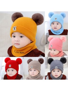 Product Image Newborn Kids Baby Boy Girl Pom Hat Winter Warm Knit Bobble  Beanie Cap Scarf Set d06ecb53c0e