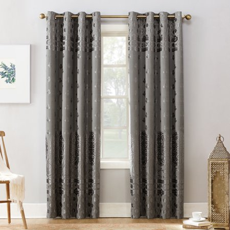 - Sun Zero Elidah Velvet Texture Medallion Blackout Grommet Curtain Panel