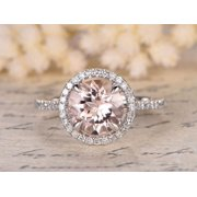 Beautiful 2 Carat Round cut Real Morganite and Diamond Engagement Ring in 18k Gold Over Sterling Silver