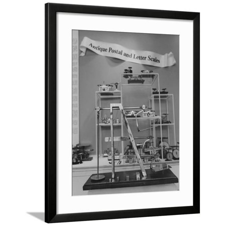 An Antique English Step Postal and Letter Scale Display Framed Print Wall Art