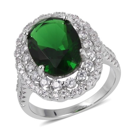 Silvertone Green Glass White Cubic Zirconia CZ Statement Ring for Women Cttw -