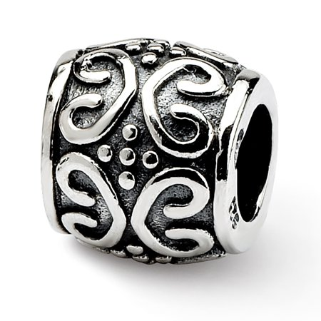 Sterling Silver Reflection Scroll and Dots Bali Bead MSRP $83