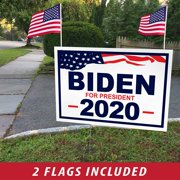 "ITC Joe Biden for President 2020 Yard Signs with H-Frames 12""x18"" (with 2 American Flags)"