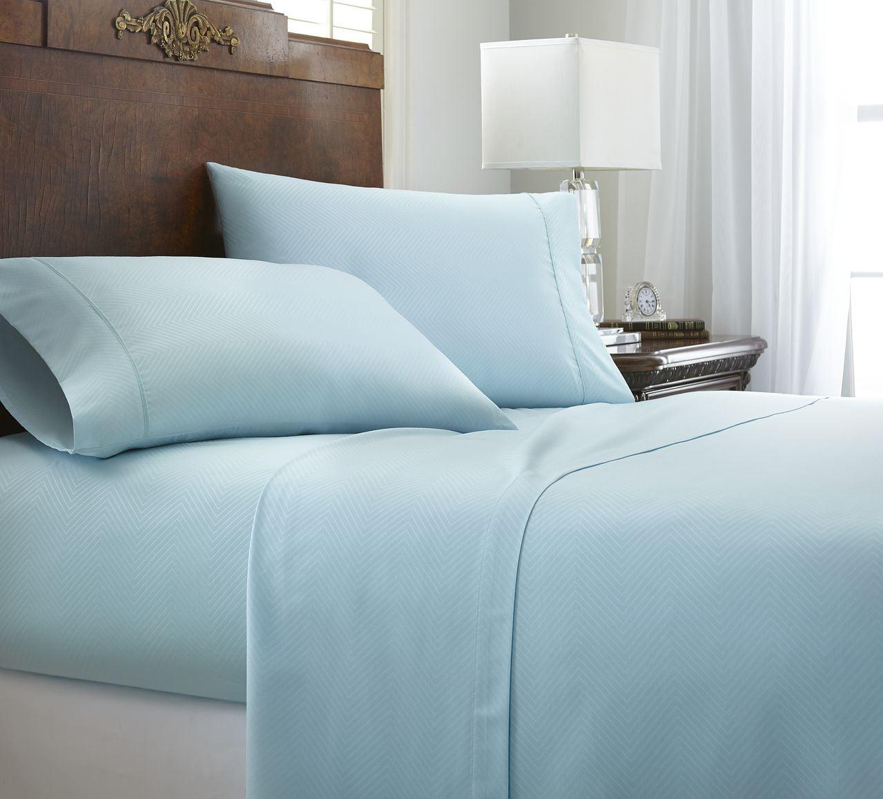 Becky Cameron Ultra Soft Hotel Quality 4 Piece Chevron Bed Sheet Set    California King   Cream   Walmart.com
