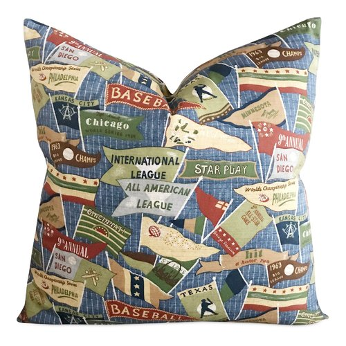 Zoomie Kids Icenhour Vintage Baseball Print Decorative Pillow Cover