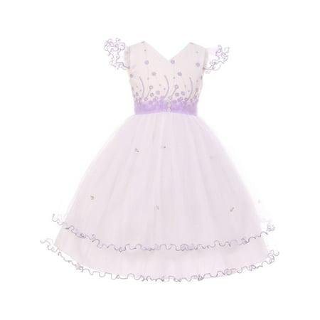 Little girls lilac white wire hem ruffle floral detail flower girl little girls lilac white wire hem ruffle floral detail flower girl dress mightylinksfo