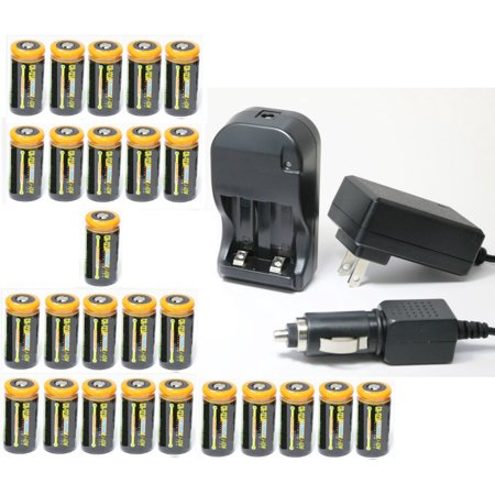 Ultimate Arms Gear 26pc CR123A 1200 mAh Lithium Rechargeable Batteries  Battery Charger Kit Universal 110/220V Rapid Wall Outlet & 12V Car Lighter  Plug
