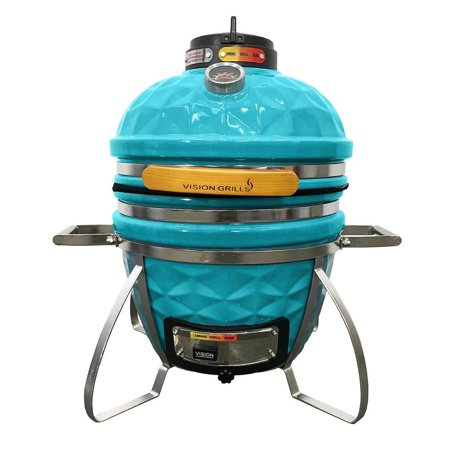 Vision Grills Diamond Cut Cadet Kamado Grill   Color Teal