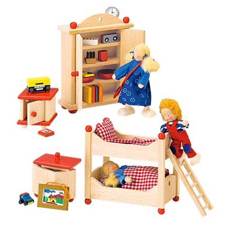 Beautifully Detailed Wooden Dollhouse Furniture Sets, Child's Room, 5-Piece Dollhouse Child's Bedroom Furniture Set By Magic