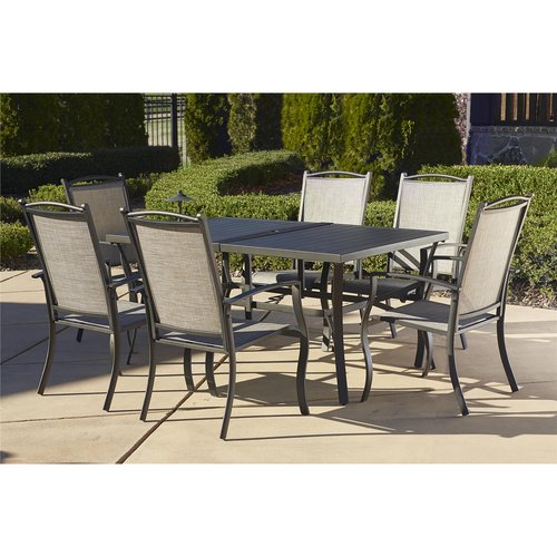 Cosco Outdoor 7 Piece Serene Ridge Aluminum Patio Dining Set, Dark Brown