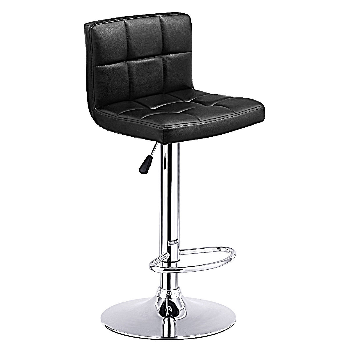 Costway 1 PC Bar Stool Swivel Adjustable PU Leather Bar Stools Bistro Pub Chair Black by Costway