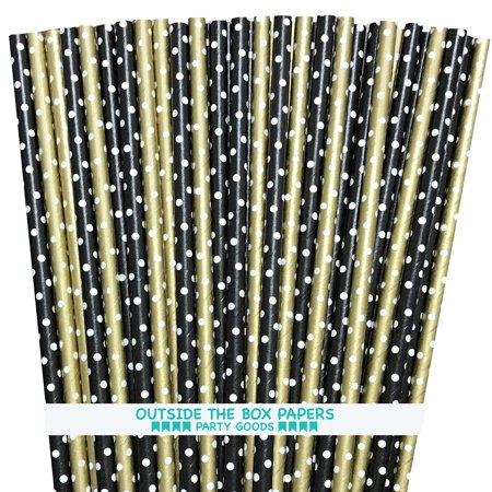 Black and Gold with White Polka Dot Paper Straws  100 Pack](Black And White Straws)