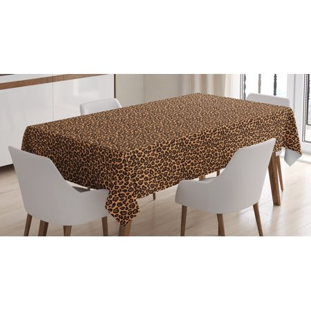 Leopard Print Tablecloth, Leopard Texture Illustration Exotic African Fauna Inspired Pattern, Rectangular Table Cover for Dining Room Kitchen, 52 X 70 Inches, Pale Orange Black, by Ambesonne