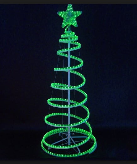 6' Green LED Lighted Outdoor Spiral Rope Light Christmas Tree Yard ...